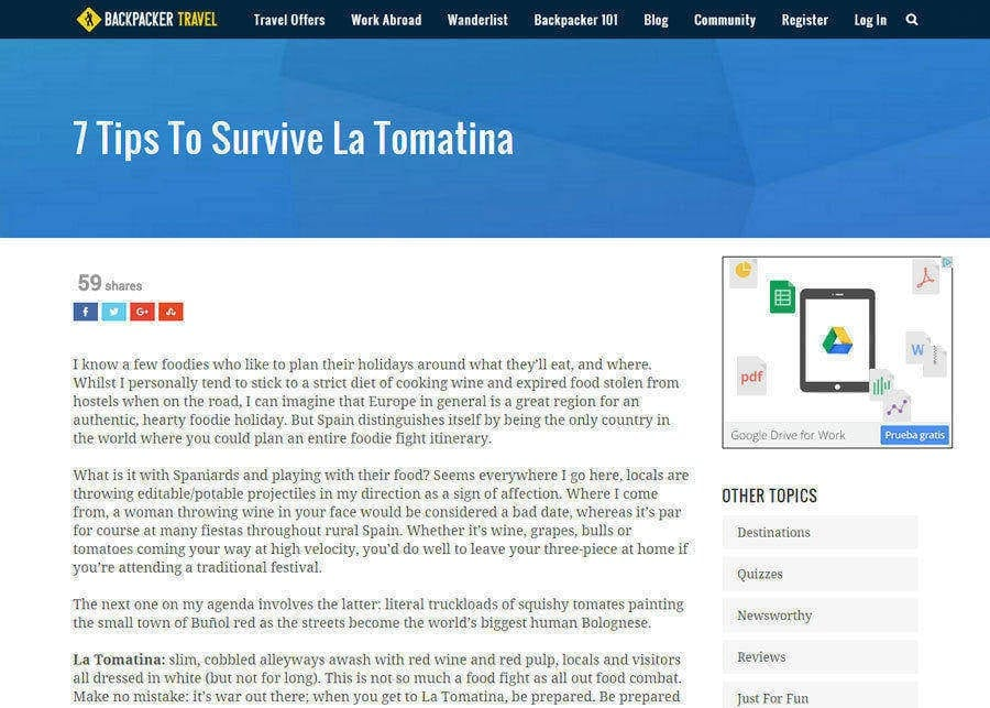 Backpacker Travel | 7 Tips To Survive La Tomatina