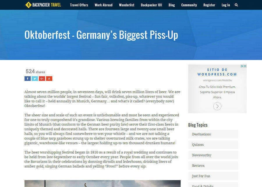 Backpacker Travel | Oktoberfest, German's Biggest Pissup