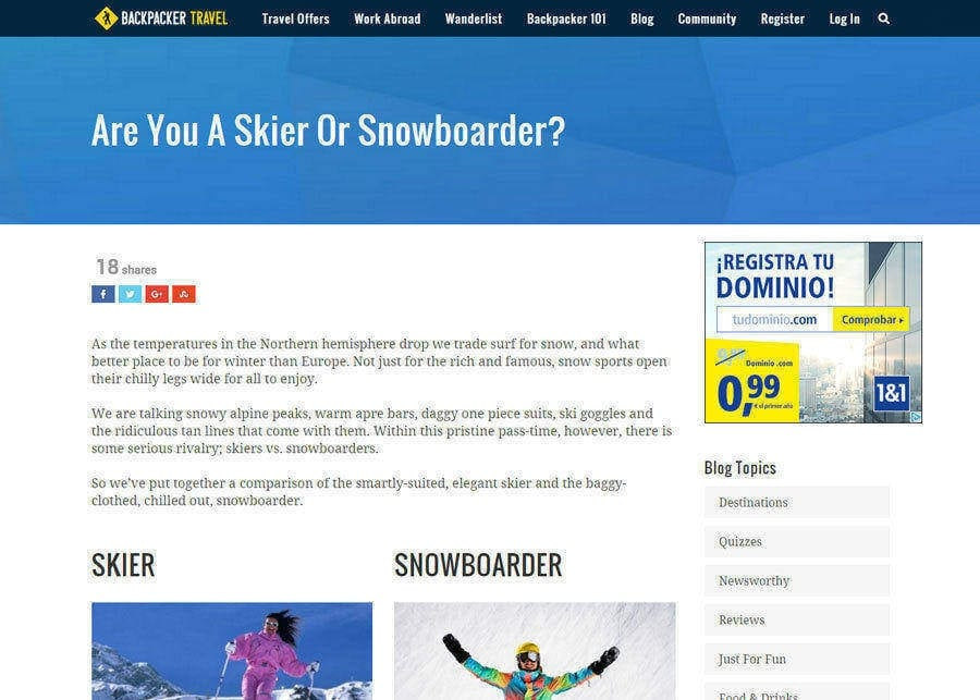 Backpacker Travel | Are You A Skier Or A Snowboarder?