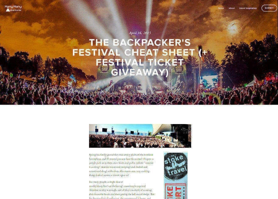 Many Many Adventures | Backpacker Festival Cheat Sheet